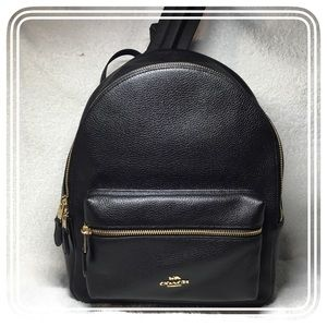 NWT- Coach Medium Charlie Backpack  Pebble Leather